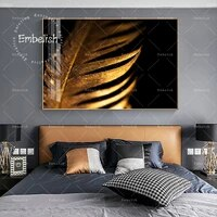 1 pieces mode mur Art photos dore plume feuilles moderne decor a la maison photos pour salon HD impression toile peinture a lhuile
