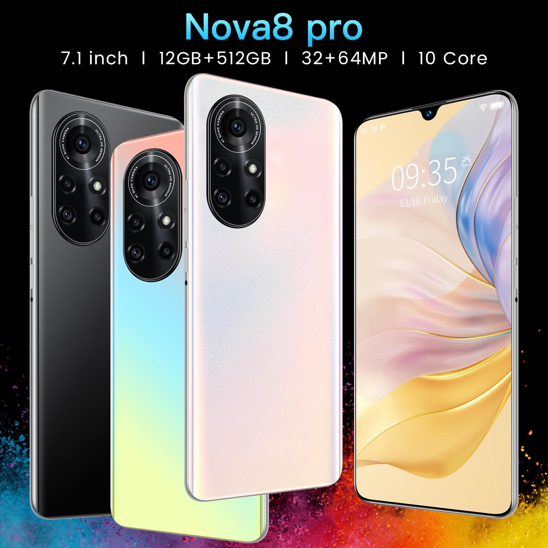 الإصدار العالمي الجديد من الهاتف الذكي نوفاa8 برو 2021 بوصة بشاشة كاملة 7.1 mAh 12 + 6800 GB 32 + 64 ميجابكسل معرف الوجه بصمة معرف 5G الهاتف المحمول 512