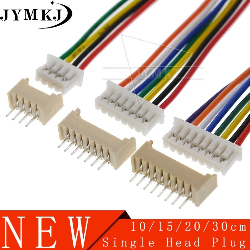 10 Sets JST 1,25 Männlichen und Weiblichen PCB Stecker JST1.25 2/3/4/5/6/ 7/8/9/10 Pin Einzigen Kopf Stecker Mit Elektronische Draht Anschlüsse
