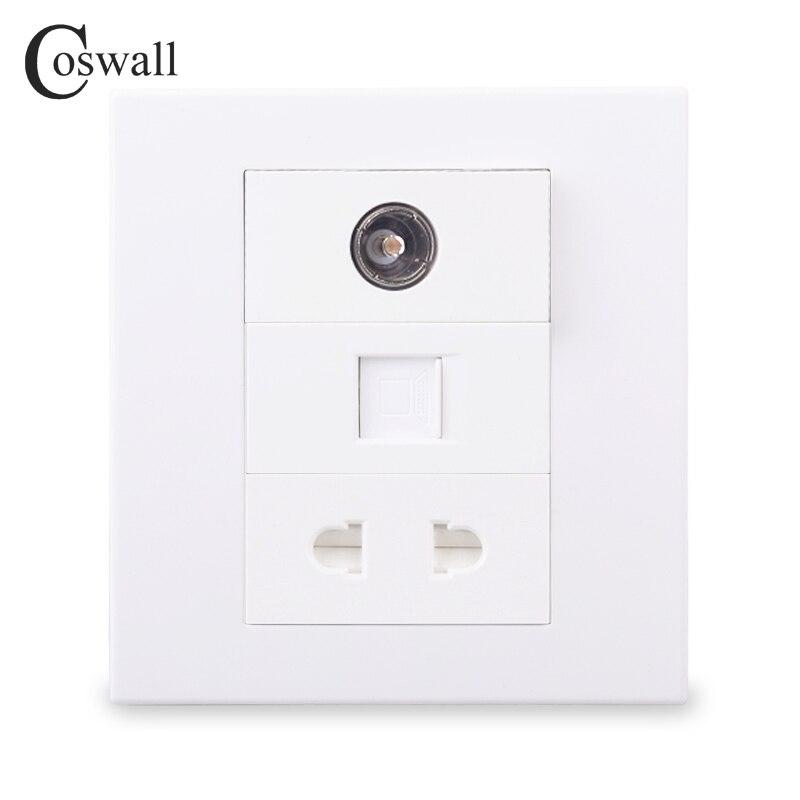 Coswall pared PC Panel 1 CAT6 RJ45 Internet conector de Ordenador + 1 mujer TV + 2 Pin conector Universal Modular