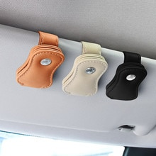Luxury car Glasses Case The first layer of cowhide Glasses clip Sun Visor Auto Bracket Glasses Holde