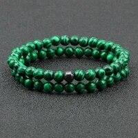 2pcsset cylinder hematite bracelet natural green malachite stone beaded energy bangles women men elastic strand jewelry homme