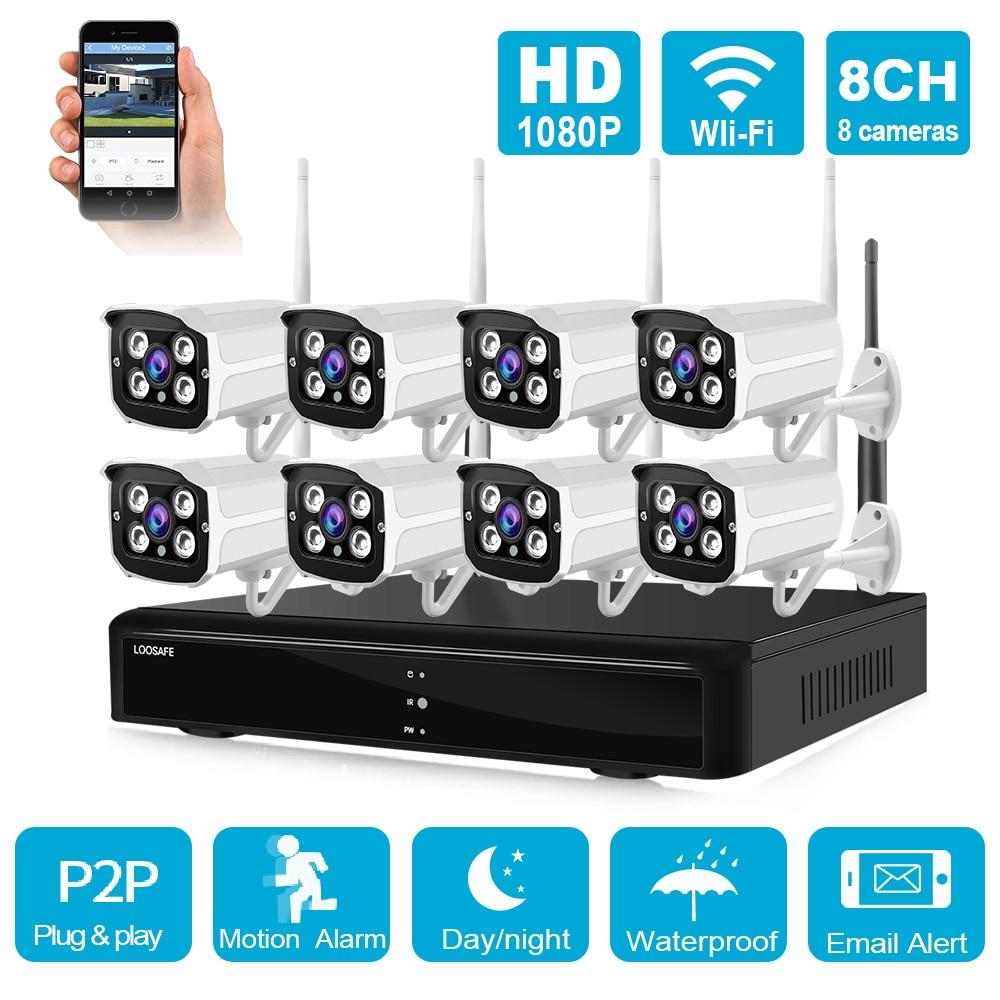H265 8CH 1080P WiFi IP NVR CCTV Kit de sistema de vigilancia de seguridad HD inalámbrico al aire libre 2MP IR visión nocturna Audio Video cámara