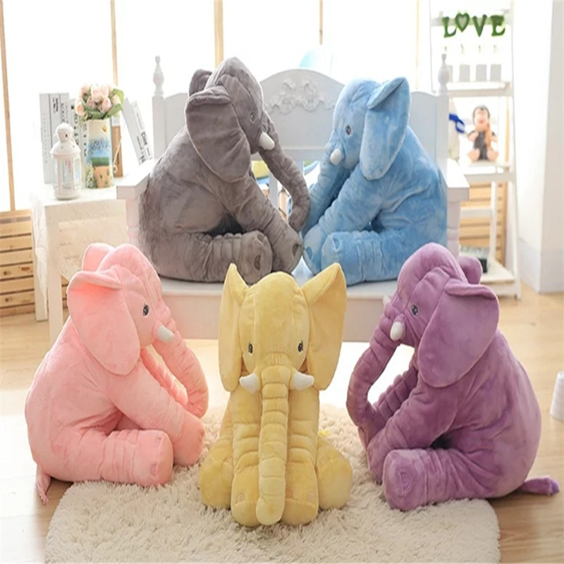 40/60cm Fashion Baby Animal Plush Elephant Doll Stuffed Elephant Plush Soft Pillow Kid Toy Children Room Bed Decoration Toy Gift