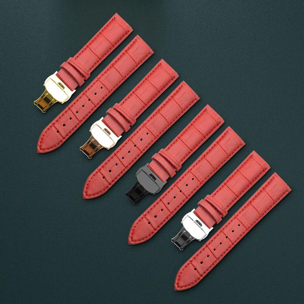 Véritable Bracelet En Cuir Rouge Bracelet Fermoir Papillon Bracelet 12 13 14 15 16 17 18 19 20 21 22 24mm Bracelet De Montre