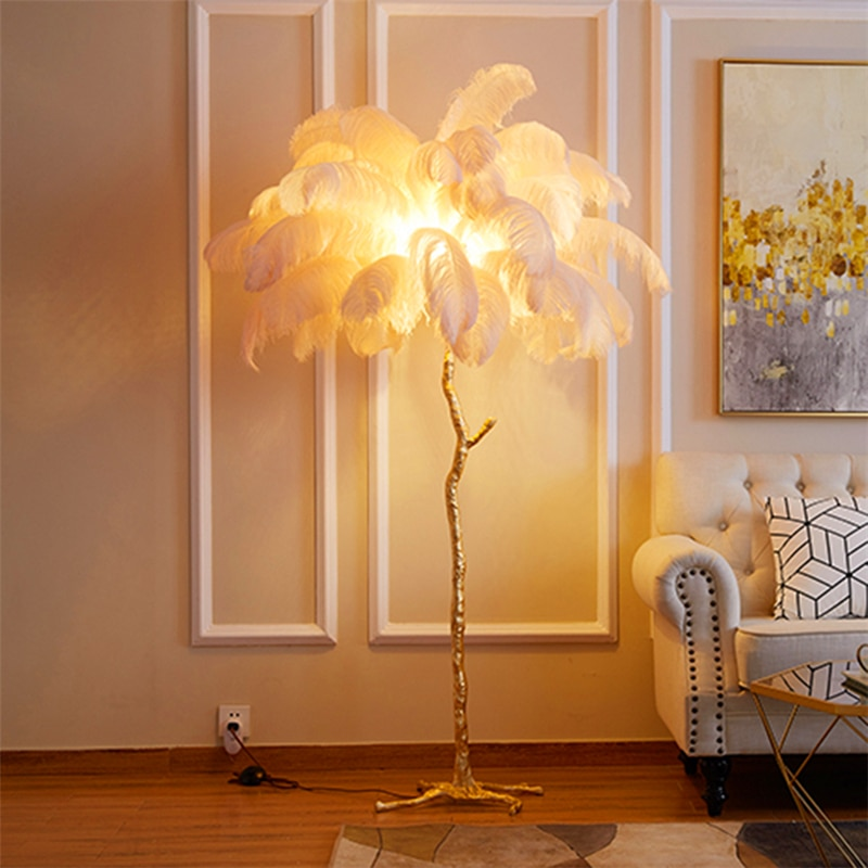 AliExpress - Nordic Ostrich Feather Floor Lamp Living Room Resin Stand light Bedroom Nordic Interior Decor Lighting Floor Light Stand Lamp