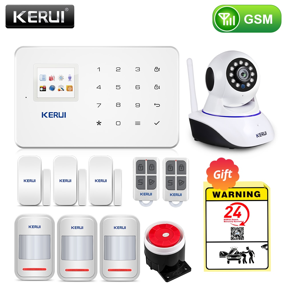 KERUI Wireless Smart Home GSM Security Alarm System SMS APP Control House Motion Detector Sensor Burglar Signal Device IP Camere