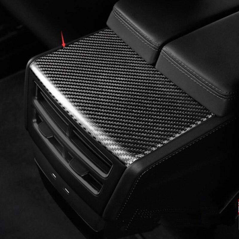 Fibra de carbono coche reposabrazos trasero caja placa embellecedor para reposabrazos para Tesla modelo X S X 2014-2019