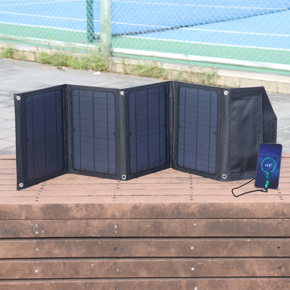 30W Foldable Solar Panel Portable Charger 5V USB QC3.0 charging for Camping Portable Power Station Cell Phone tablet Power Bank
