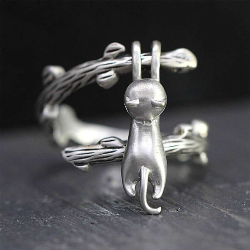Nuevo lindo anillo de gato pequeño Boho moda abierto anillo de compromiso anillos de boda Vintage para mujeres regalos de joyería