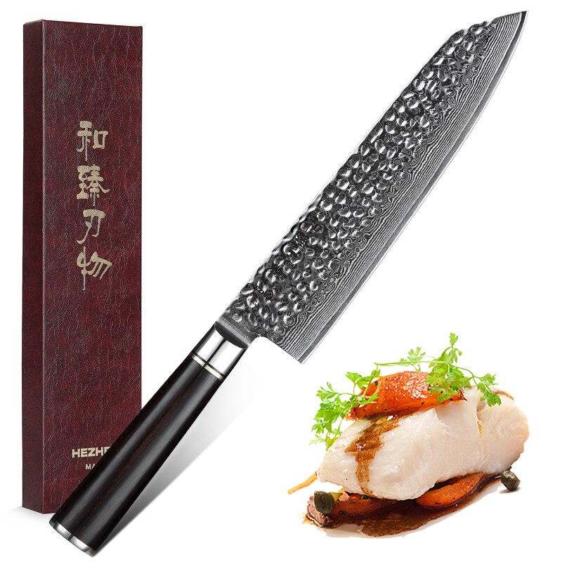 HEZHEN 8,5 ''нож для нарезки Дамасская сталь нож шеф-повара острый нож для нарезки сантоку нож для мяса рыбы Овощной режущий инструмент