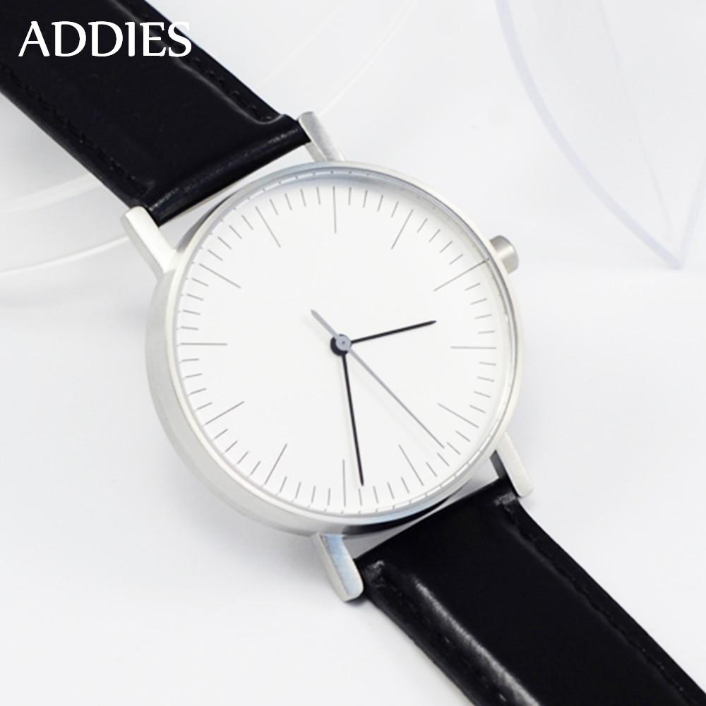 Addies-ساعة غواص 50m ، كوارتز فاخرة ، أعمال ، فولاذ ، ساعة رجالية بحزام جلدي
