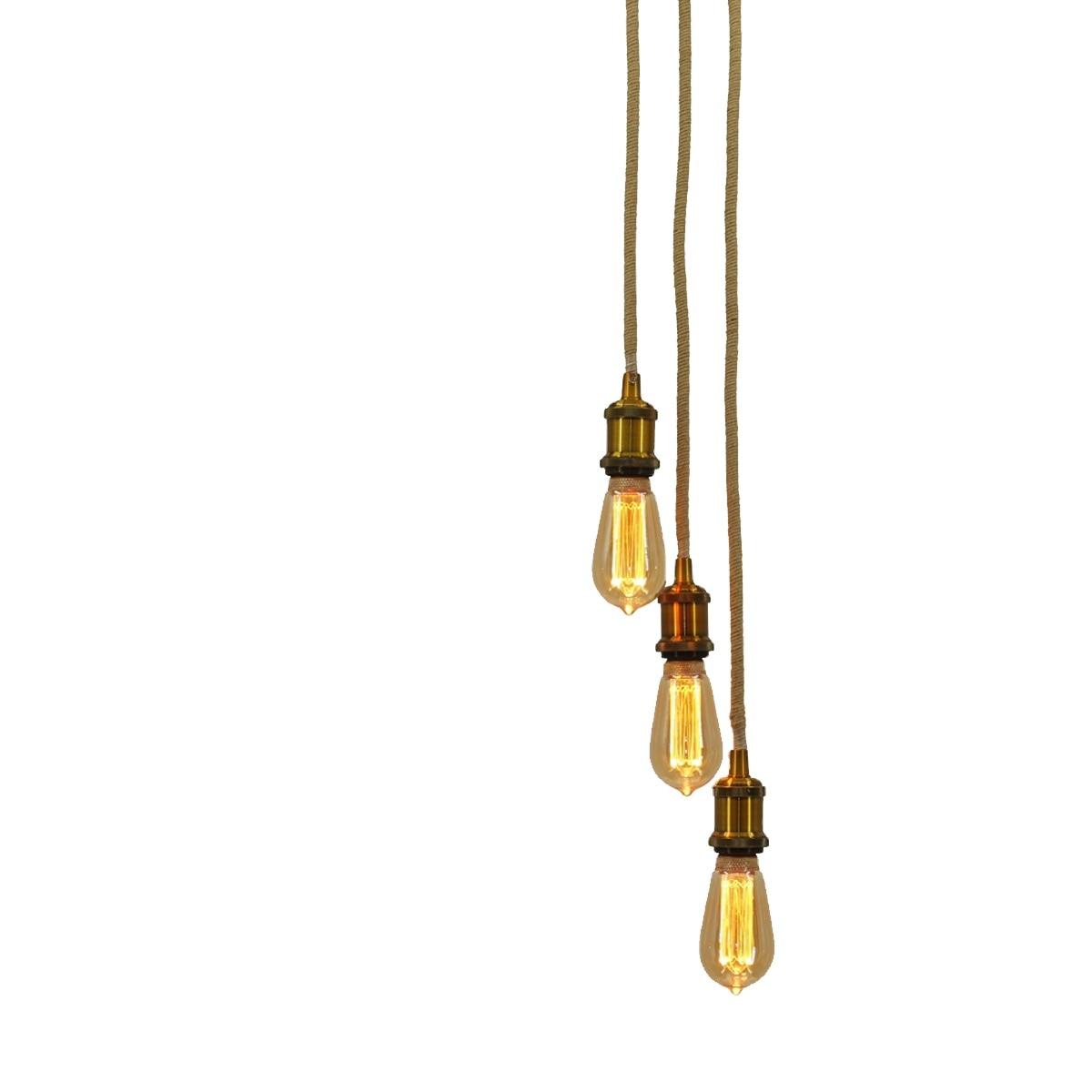 خمر حبل القنب الصناعي الثريا E26 E27 3 رؤساء قلادة ضوء للديكور المنزل