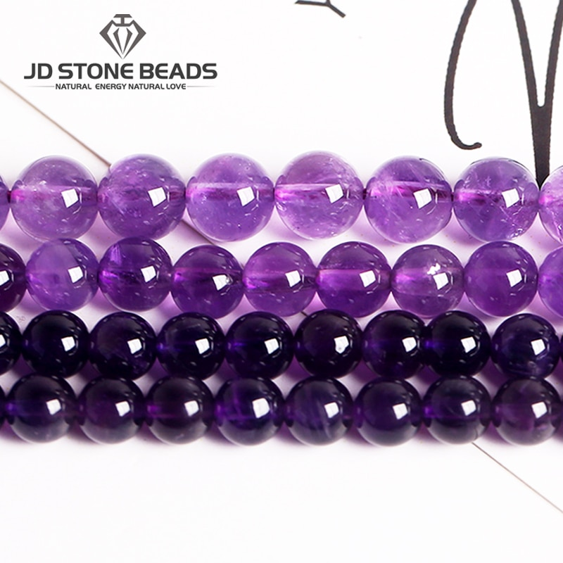 AliExpress - Factory Price Natural Amethyst Round Loose Beads 15″ Strand 4 6 8 10 12 14MM Pick Size amethyst For Jewelry Making Gemstone