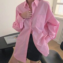 2021 Summer Length Shirt Tops Korean Chic Spring Simple Basic Lapel Single Breasted Loose Casual Lan