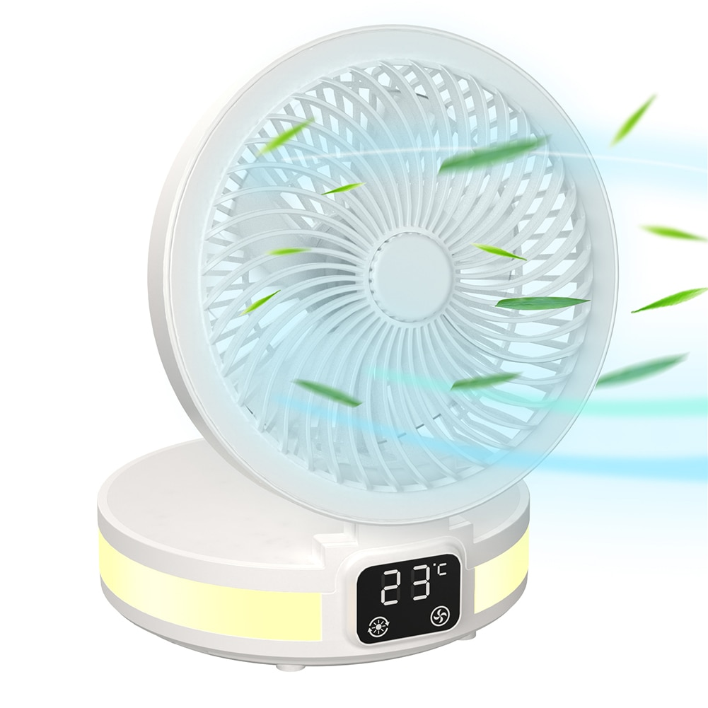 New LED Air Fan Household Desktop Mini USB Rechargeable Fan Aromatherapy Fan with Digital Temp Display