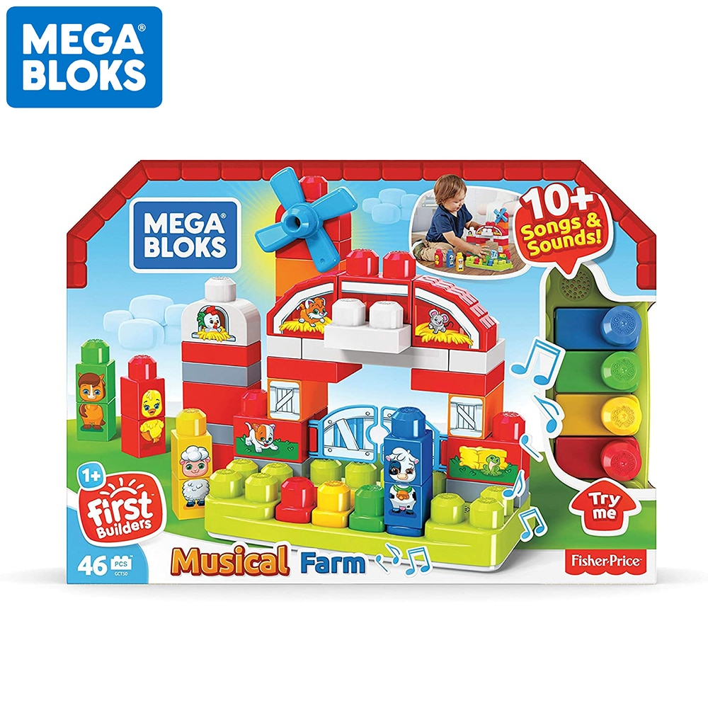 MEGA BLOKS First Builder Series 46pcs Big Size Musical Farm Building Blocks Kid Toy GCT50 Songs & Sounds Funny Doll Playing Set