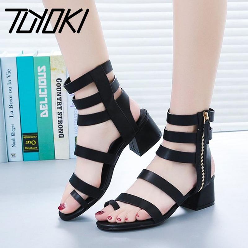 Tuyoki Size 35-39 Women High Heel Sandals Ankle Strap Rivet Peep Toe Thick Heels Sandals Summer Office Ladies Shoes