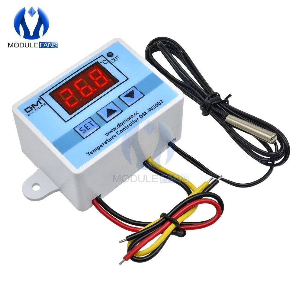 W3002 12 В/24 В/110 В 220 В светодиодный цифровой регулятор температуры Термостат терморегулятор датчик измеритель холодильника водяное отопление охлаждение