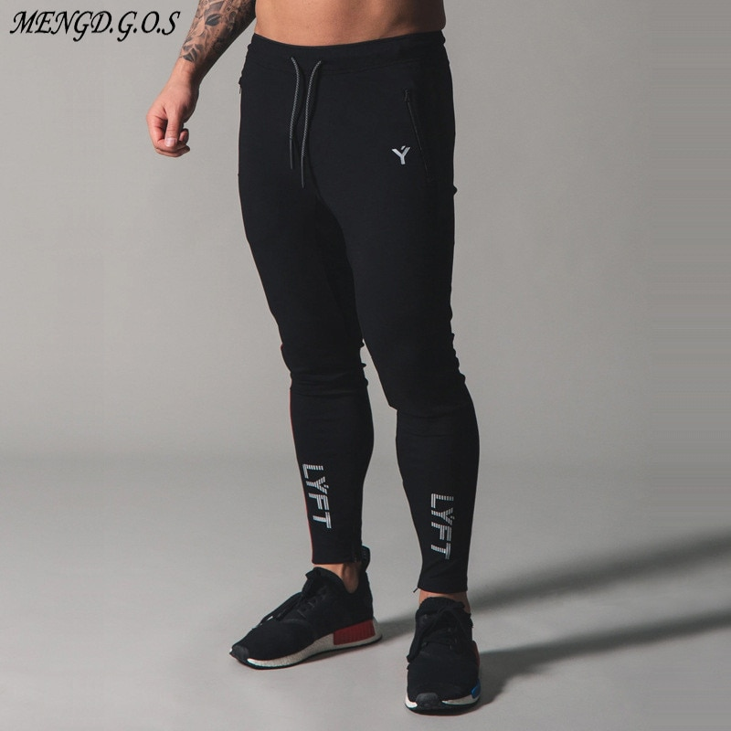 Spring and autumn cotton black men's trousers streetwear everyday casual pants jogger fashion fitness sports pants