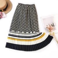 indie folk style 2021 summer women striped long skirts elastic waist printing slim casual foral skirt