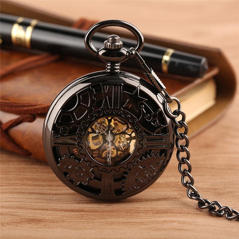 Steampunk Hollow Gear Case Men Women Handwinding Mechanical Pocket Watch Pendant Chain Skeleton Clock Roman Number Half Hunter