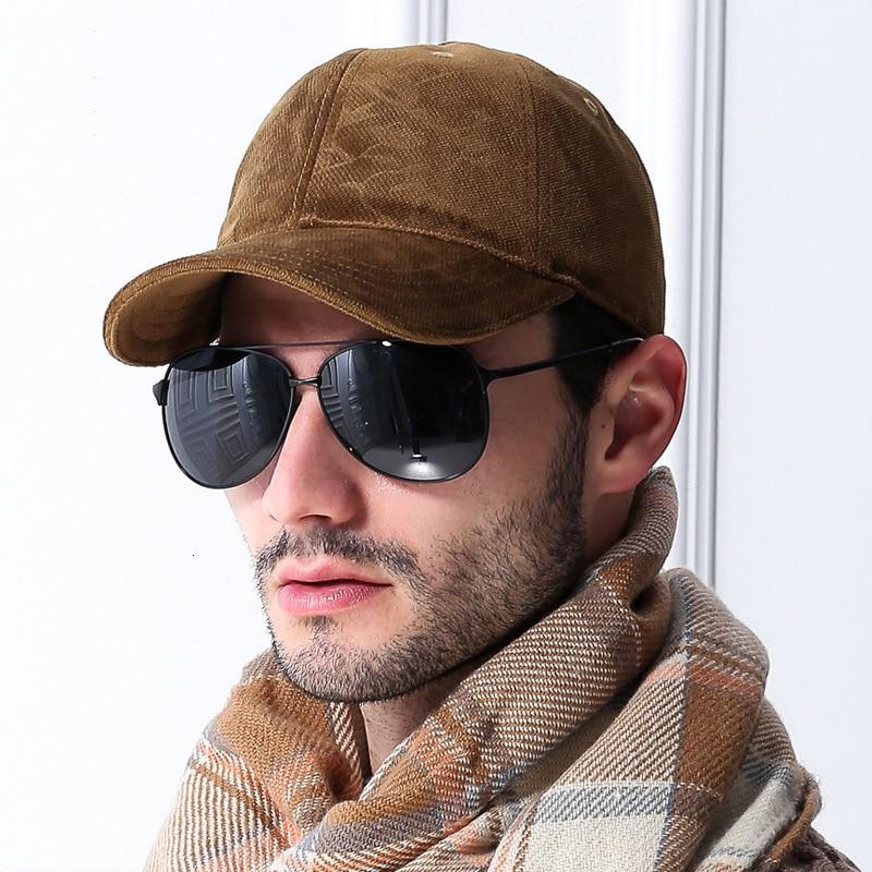 Hombre invierno béisbol gorro mantener caliente Cashmere Peaked Cap papá outdoor Warm Causal sombreros de talla grande hombres gorras 55-62cm