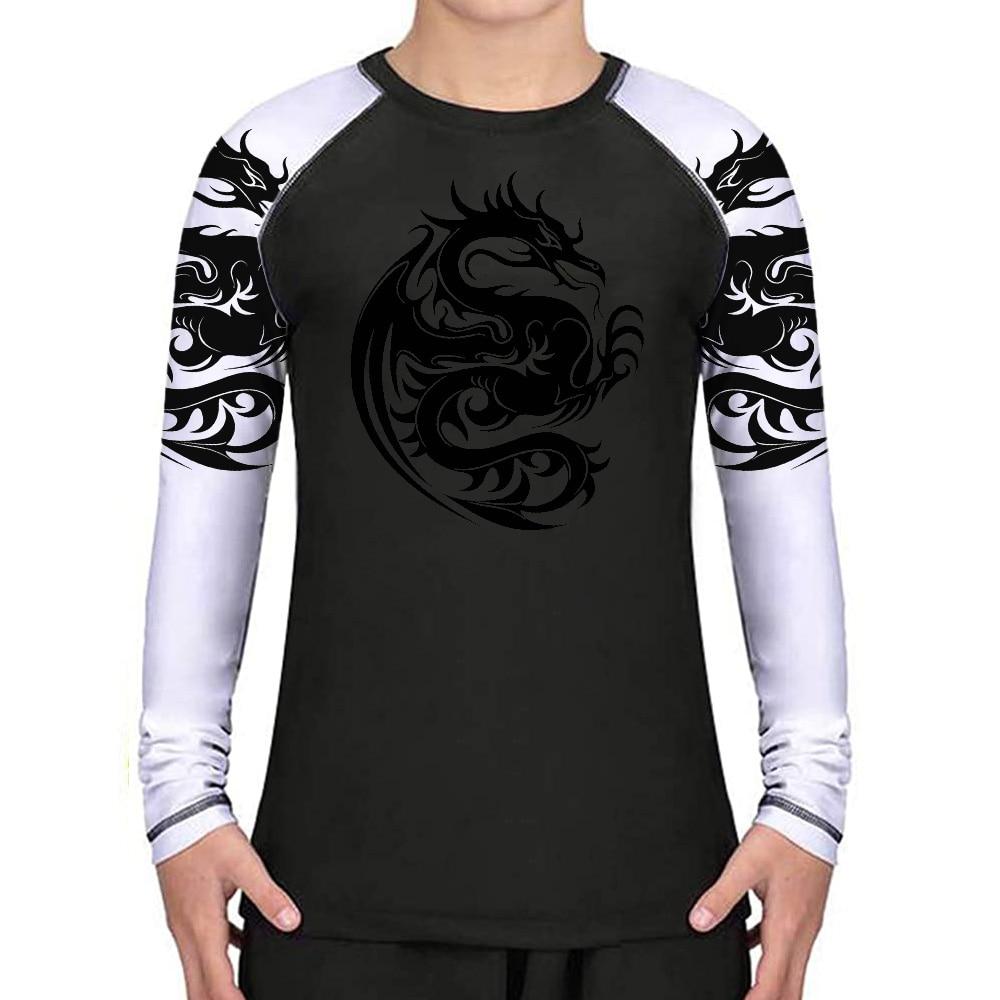 Dragon Totem Kids Long Sleeve Compression Rash Guard Unisex Youth Boys Girls MMA BJJ Jiu Jitsu