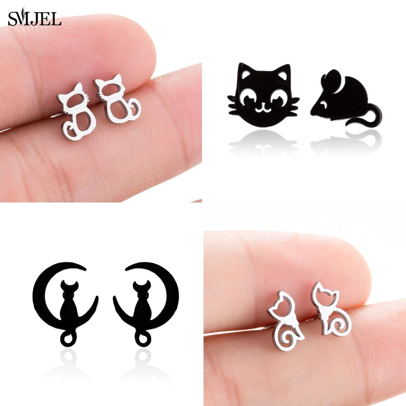SMJEL Stainless Steel Small Cat Earrings for Women Kids Black Cat Mouse Animal Fashion Earings Jewel