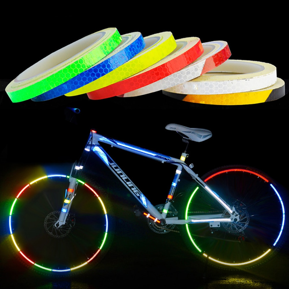 1PC Bicycle Reflective 8 Meter Car Styling Reflective Stripe Tape Motorcycle Bike Body Rim Wheel Stripe Tape Stickers Colorful for suzuki gsf650 gsf650s gsf1000 gsr 600 750 1000 gsr600 colorful motorcycles wheel stickers reflective rim moto stripe tape