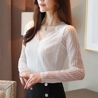 new women blouses women long sleeve shirt woman v neck lace blouses top plus size woman white shirt blusas mujer de moda