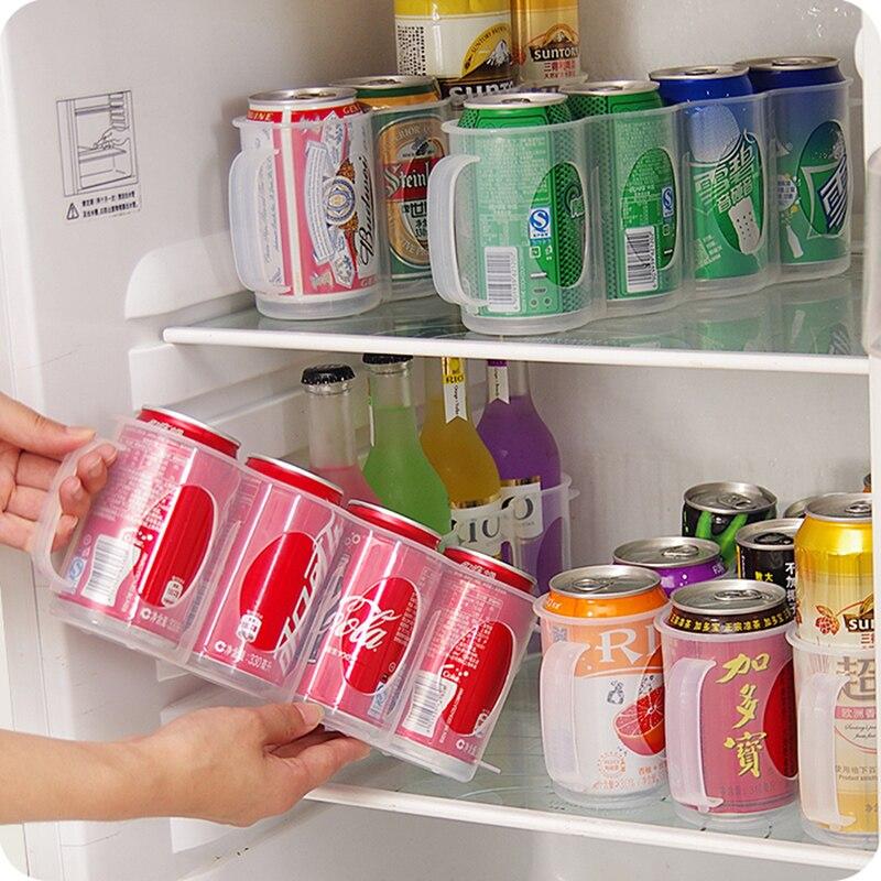Caja de almacenamiento para latas de bebida de refrescos y cerveza, nevera, soporte para botella, nevera, 4 cajas organizadoras para comida