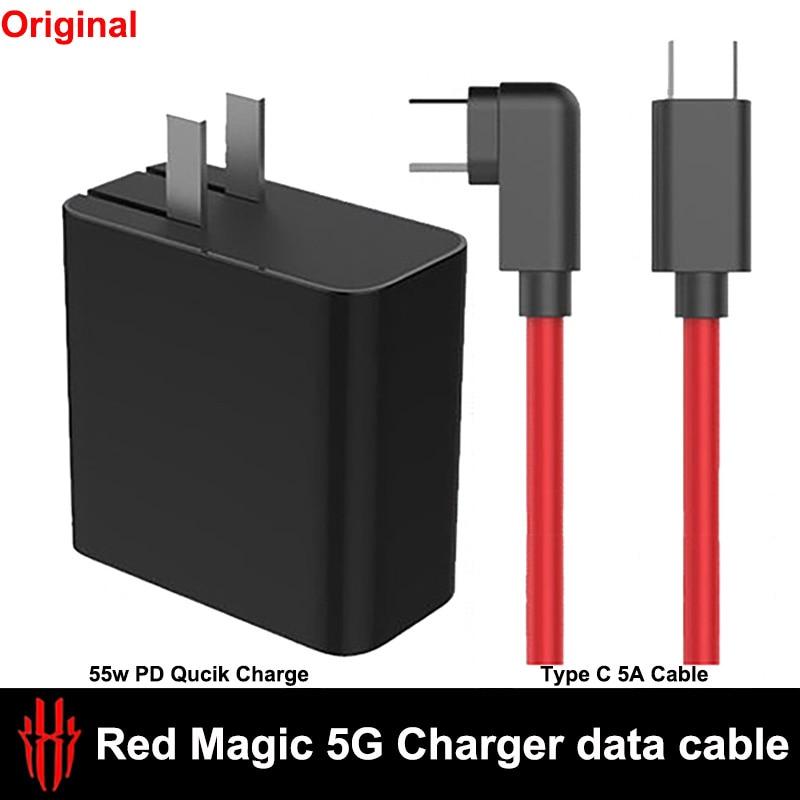 الأصلي ل النوبة الأحمر السحر 5G USB المزدوج نوع-C 55w PD Qucik سريع شحن شاحن 5A كابل USB-C كابل الأحمر Magic5G Redmagic 5G