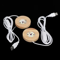 1pcs wood light base rechargeable remote control wooden led light rotating display stand lamp holder lamp base art ornament