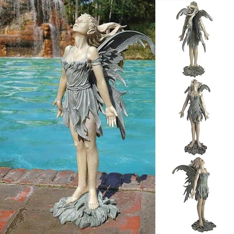 تمثال ملاك رسمت باليد الجنية الراتنج الحرف في الهواء الطلق المناظر الطبيعية الديكور لحديقة فناء الحديقة L23