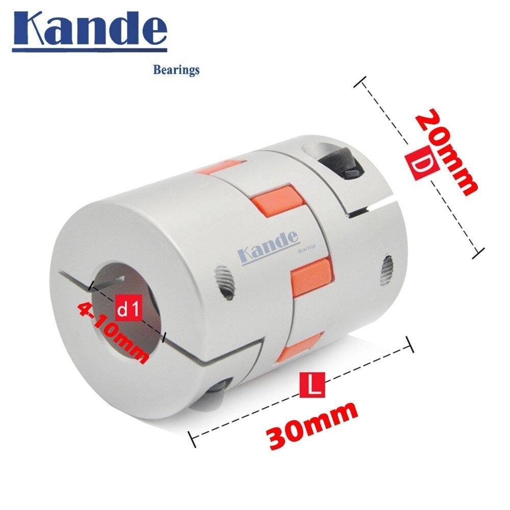 Acoplador de abrazadera de ciruela Flexible de alta calidad 1 Uds D20 L30 tamaño del eje CNC acoplamiento del eje de la mandíbula 4/5/6/6.35/7/8/10mm 5mm 8mm D20L30