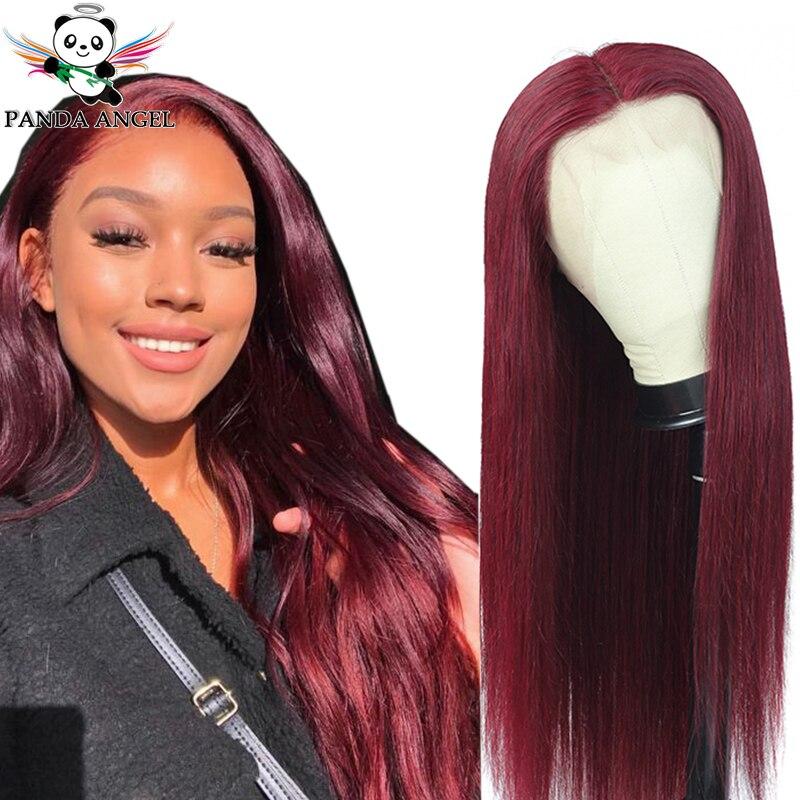 Pelucas de cabello humano frontales de encaje recto de color Burdeos 99J, peluca de cabello humano 150% Remy rojo malayo, pelucas frontales de encaje transparente de 13x4, Panda