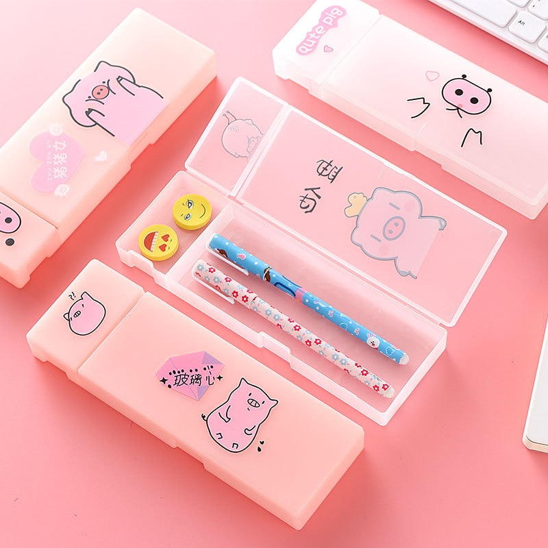 Piggy Cute Pencil Case Kawaii Stationery Storage Box Plastic Frosted Pencil Box Pen Case for Student School Supplies for Girls portable fruit silicone stationery box cute pencil case kawaii school pencil cases gifts for girls student pen case storage bag