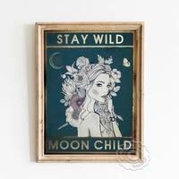 Affiche de meditation spirituelle  peinture sur toile dart de fleur de fille  peinture sur toile dart mural de lune et denfant  decor de maison cadeau Vintage