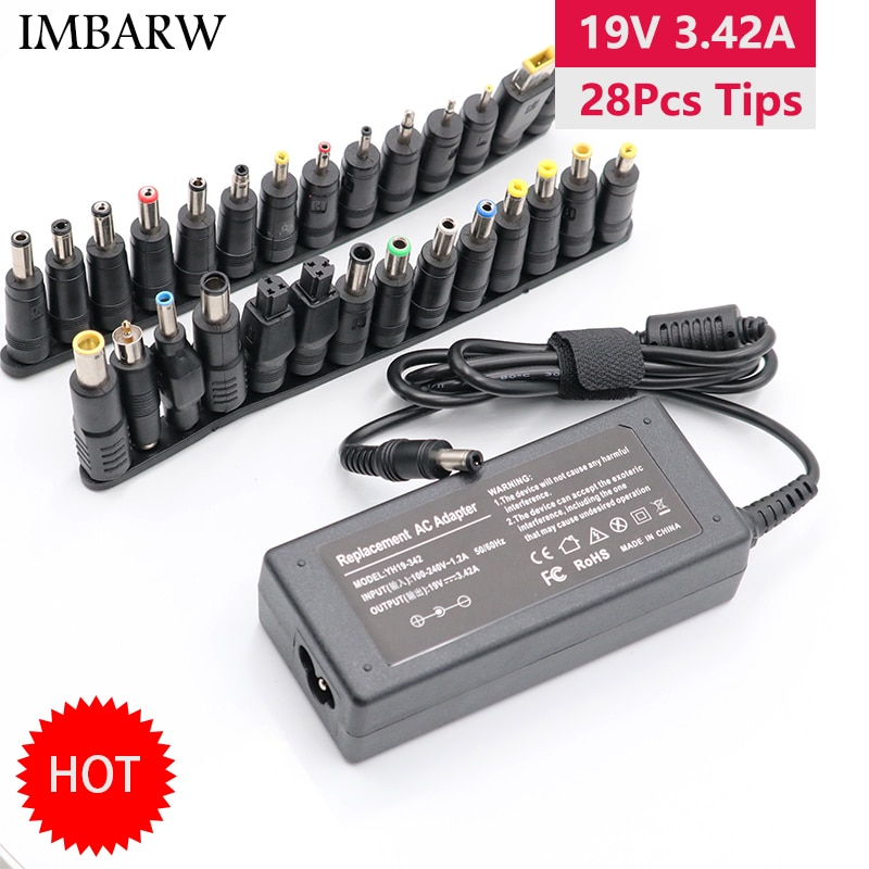 19V 3.42A 65W Universal Laptop Power Adapter Charger for Lenovo Asus Acer Dell HP Samsung Toshiba La