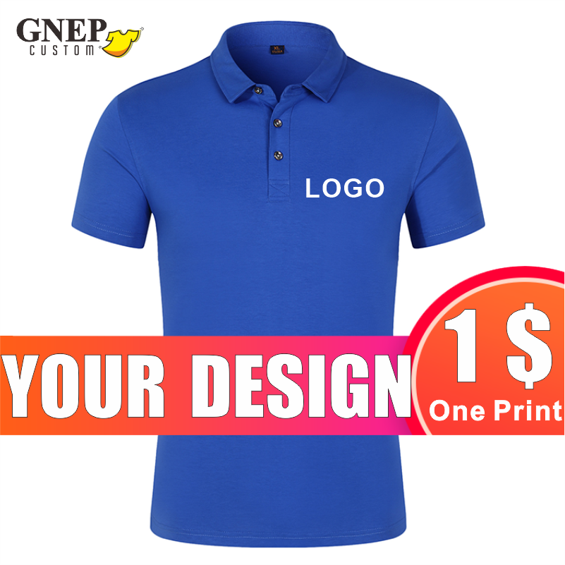 GNEP Men Women Casual Polo Custom Personal Brand Fashion Short Sleeve Lapel Shirt Design Print Embroidery Company Team Logo custom embroidery personalised polo shirt full color text logo print work uniform workwear company design your own polo
