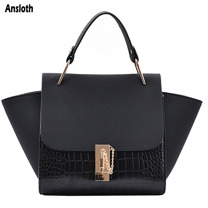 Ansloth Design Brand Crocodile Pattern Hand Bags PU Leather Wings Shape Shoulder Bags Frosted Ladies Fashion Crossbody Bag Women