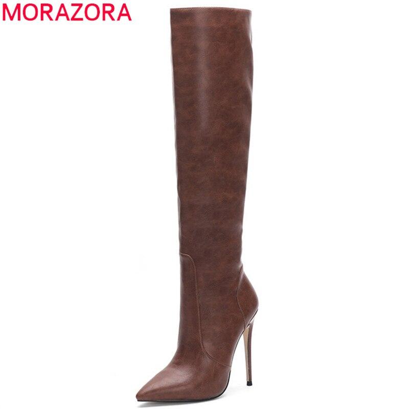 MORAZORA 2020 nouveauté sur le genou bottes femmes bout pointu automne hiver bottes mince talons hauts fête chaussures de mariage femme