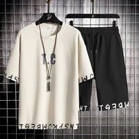 summer mens set street hip hop shorts suit harajuku print t shirt fashion men sets casual trend sportswear mens clothing