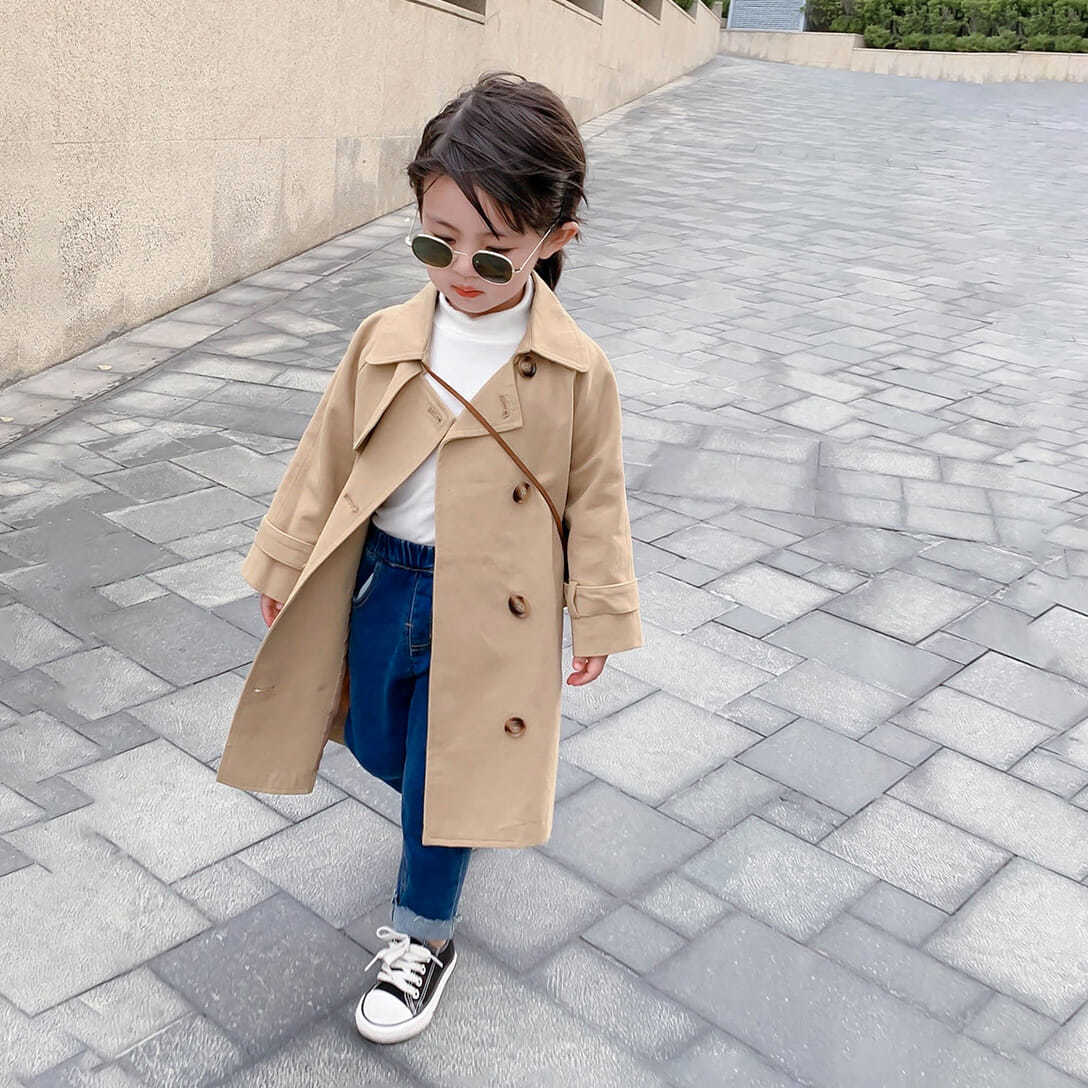 2021 New Boutique Autumn Fashion Kids Girl Long Trench Coats Toddler Baby Outerwear Children Clothin