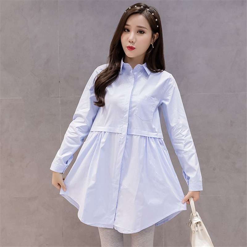 Loose Maternity Blouses Shirts Long Sleeve Blouses Tops Clothes for Pregnant Women Uniforms Shirts Pregnancy Clothing Plus Size enlarge
