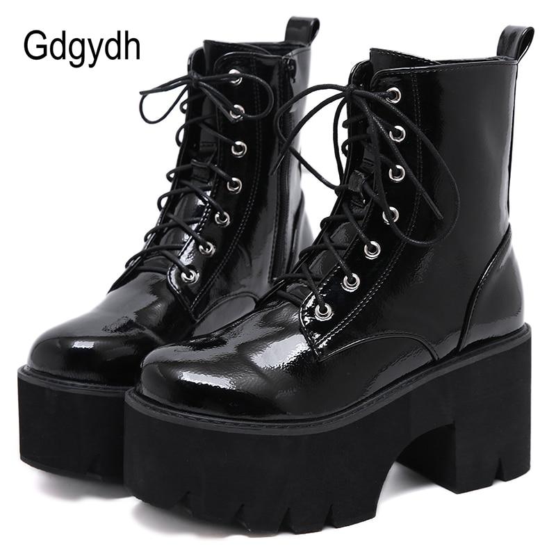 Gdgydh-حذاء نسائي من الدانتيل ، حذاء نسائي بنعل سميك من الجلد الأسود اللامع ، نمط الشرير القوطي ، وصل حديثًا 2021
