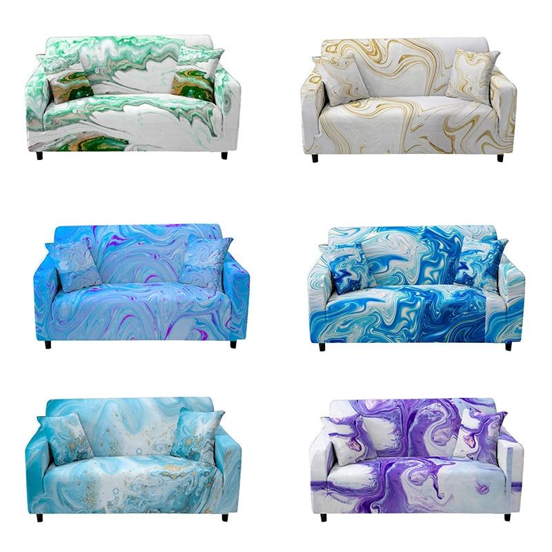 Абстрактный стрейч диван крышка для Гостиная Non-Slip мраморные эластичный чехол Чехол для секционного дивана Роскошный чехол для подушки чехол