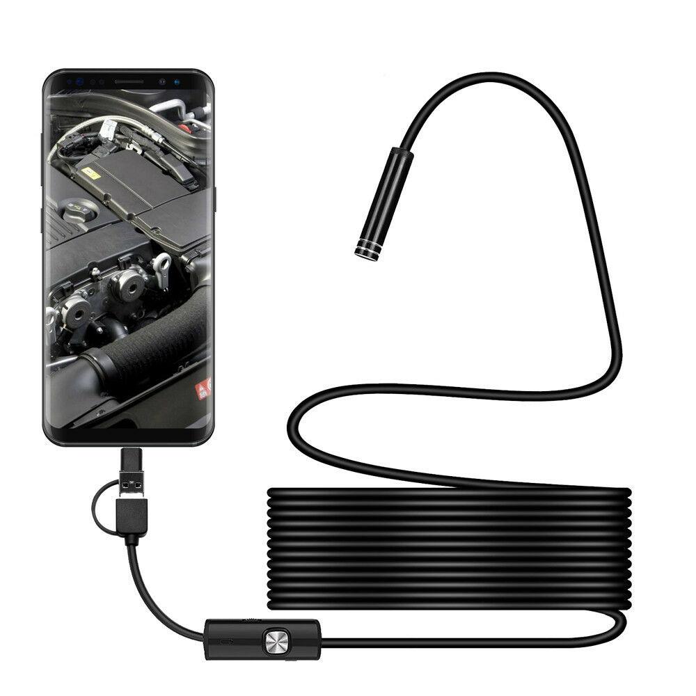 1m a 5m 7mm 3 en 1 HD Android Teléfono Móvil, endoscopio para ordenador, bloqueo de reparación, impermeable, cámara en miniatura
