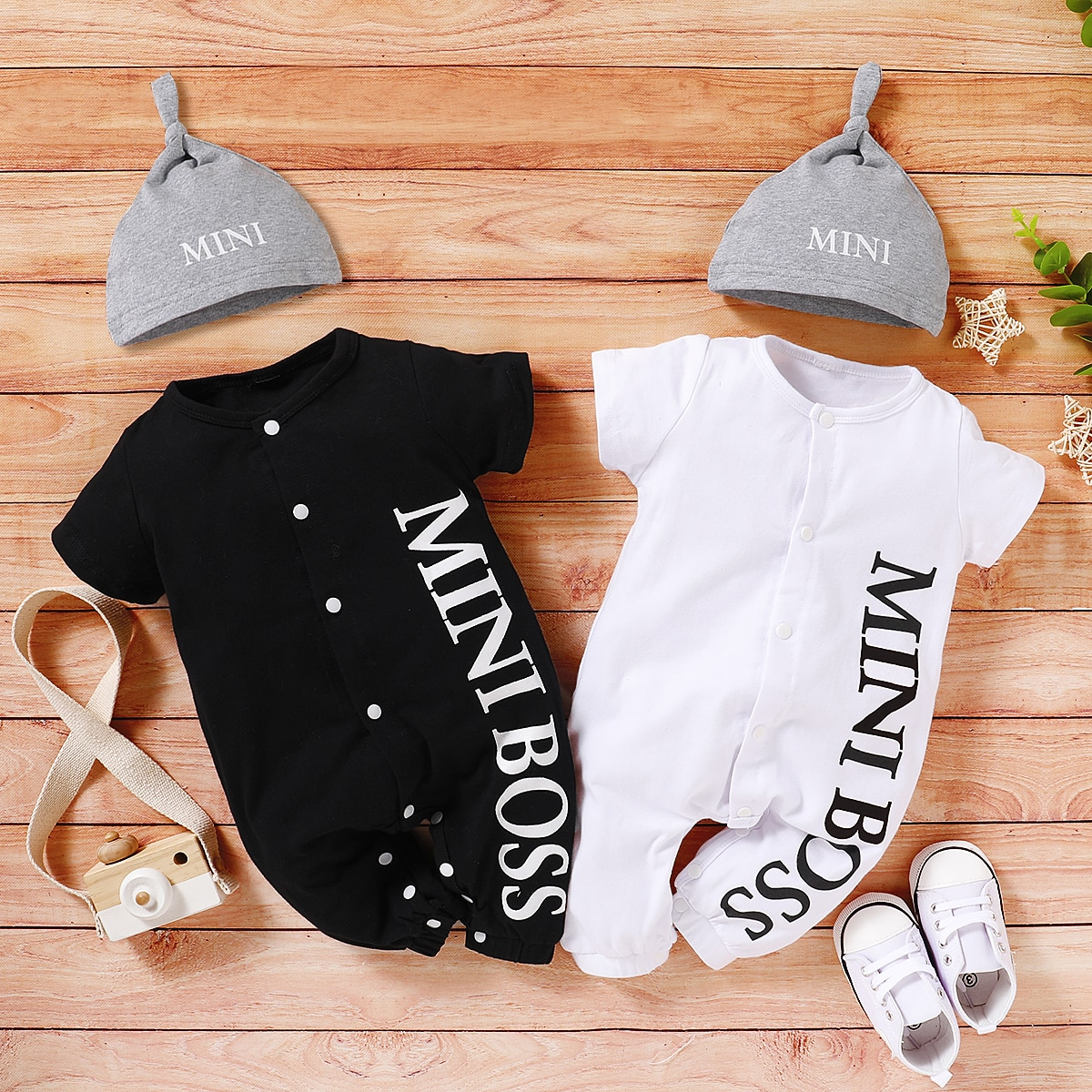 PatPat Hot Sales 2021 Spring and Summer Baby Boy MINI BOSS Baby Rompers with Hat Short and Long Sleeve Baby's Clothing